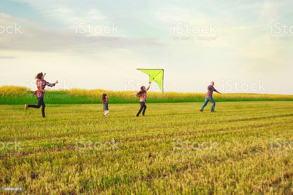Family launches a kite in the field stock photo