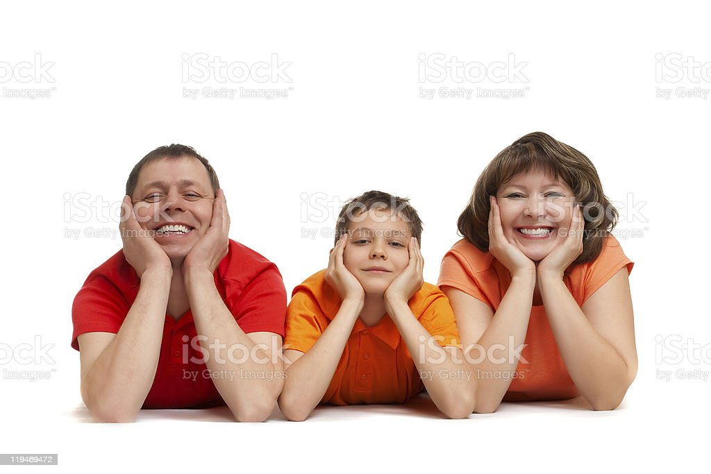 family laying on the floor royalty-free stock photo