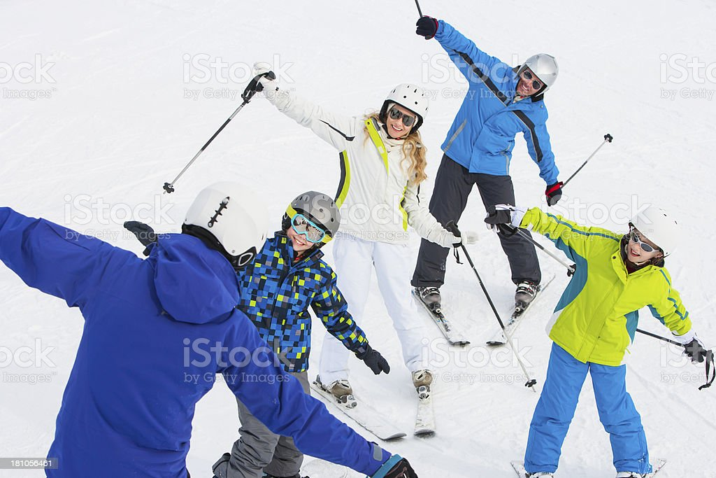 Family Learning to Ski with Instructor royalty-free stock photo