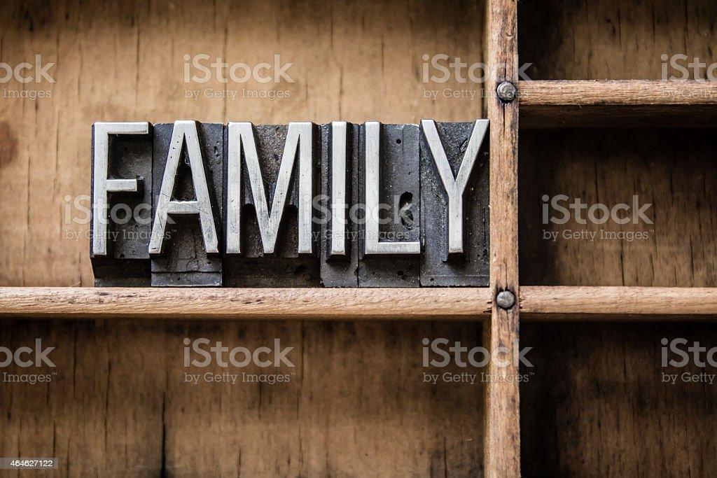 Family Letterpress Type in Drawer stock photo