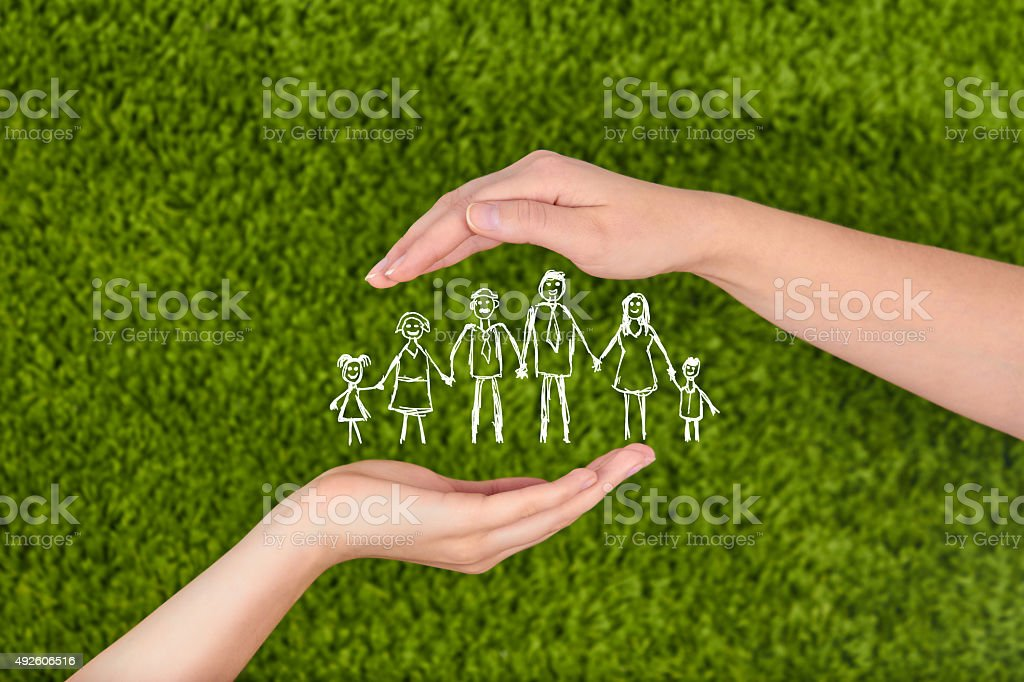 Family life insurance, protecting family, family concepts. stock photo