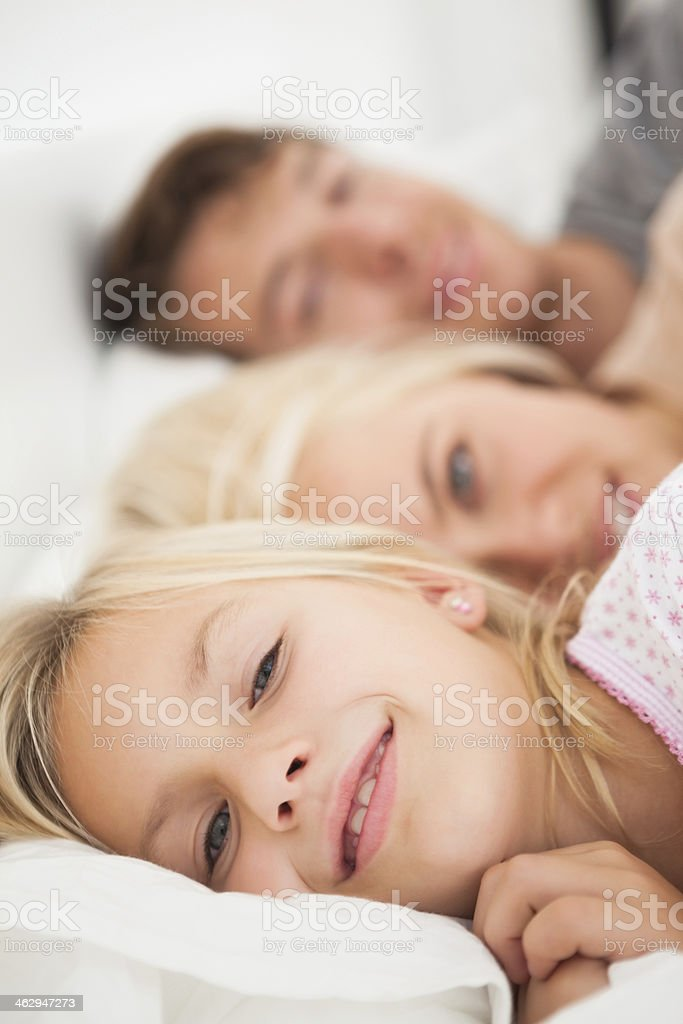 Family looking at the camera with smile royalty-free stock photo