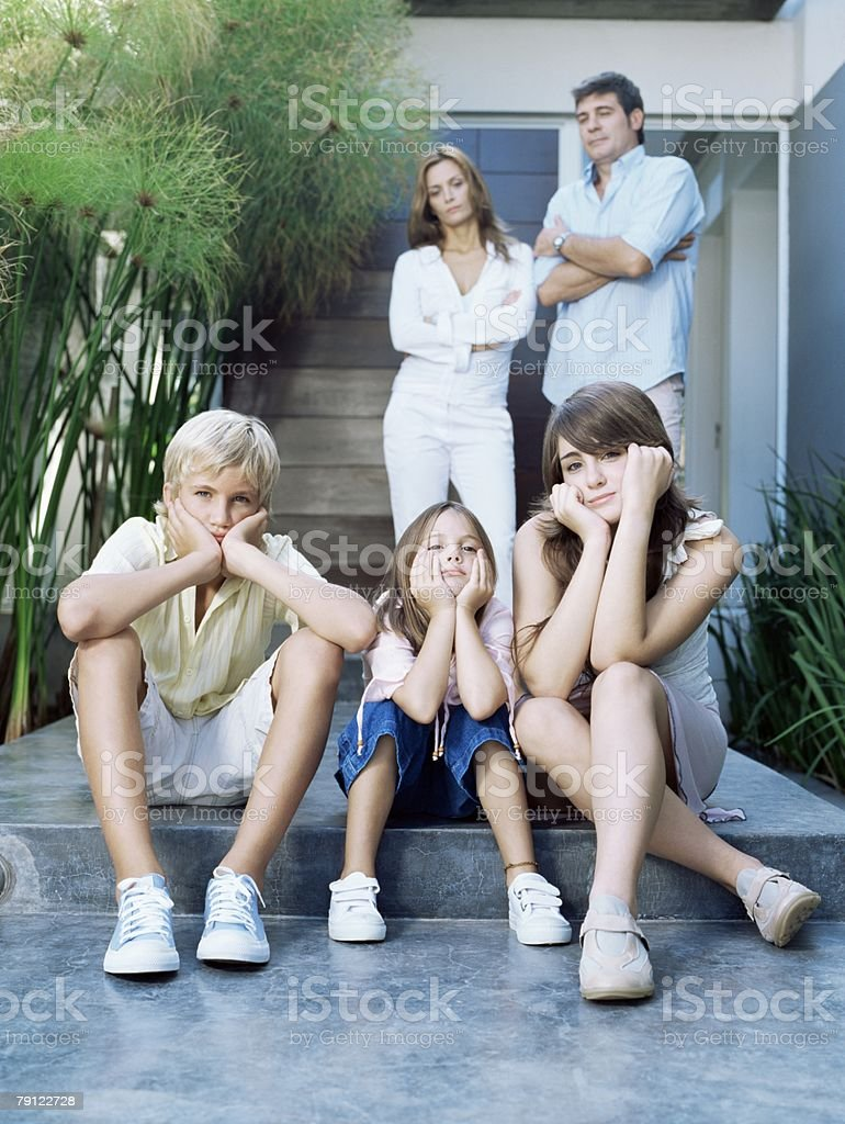 Family looking fed up royalty-free stock photo