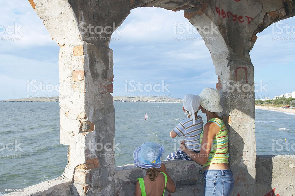 family looking on surfing royalty-free stock photo