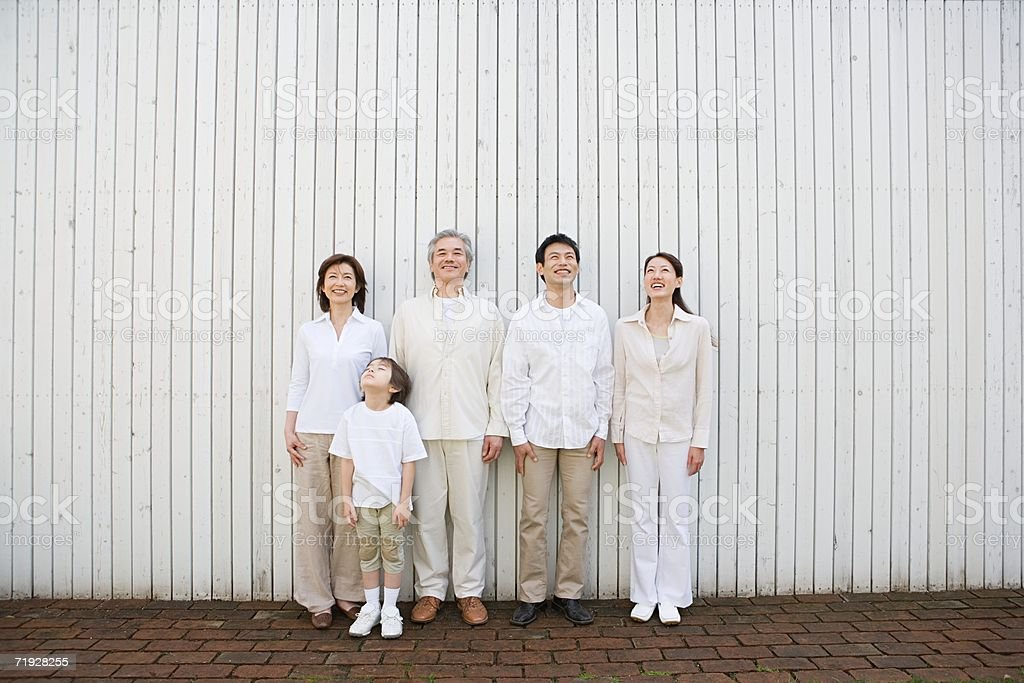 Family looking up royalty-free stock photo