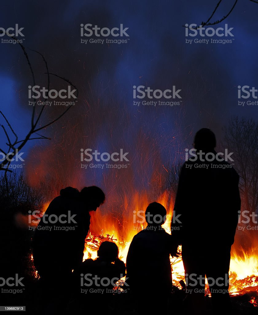 Family lost everything in Fire standing front of house stock photo