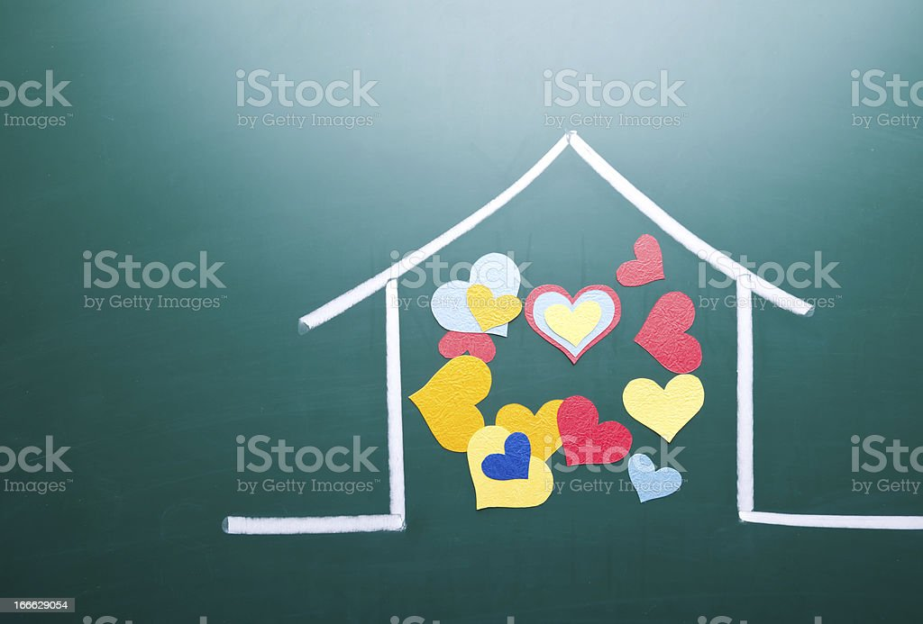 Family love and colorful heart shape royalty-free stock photo