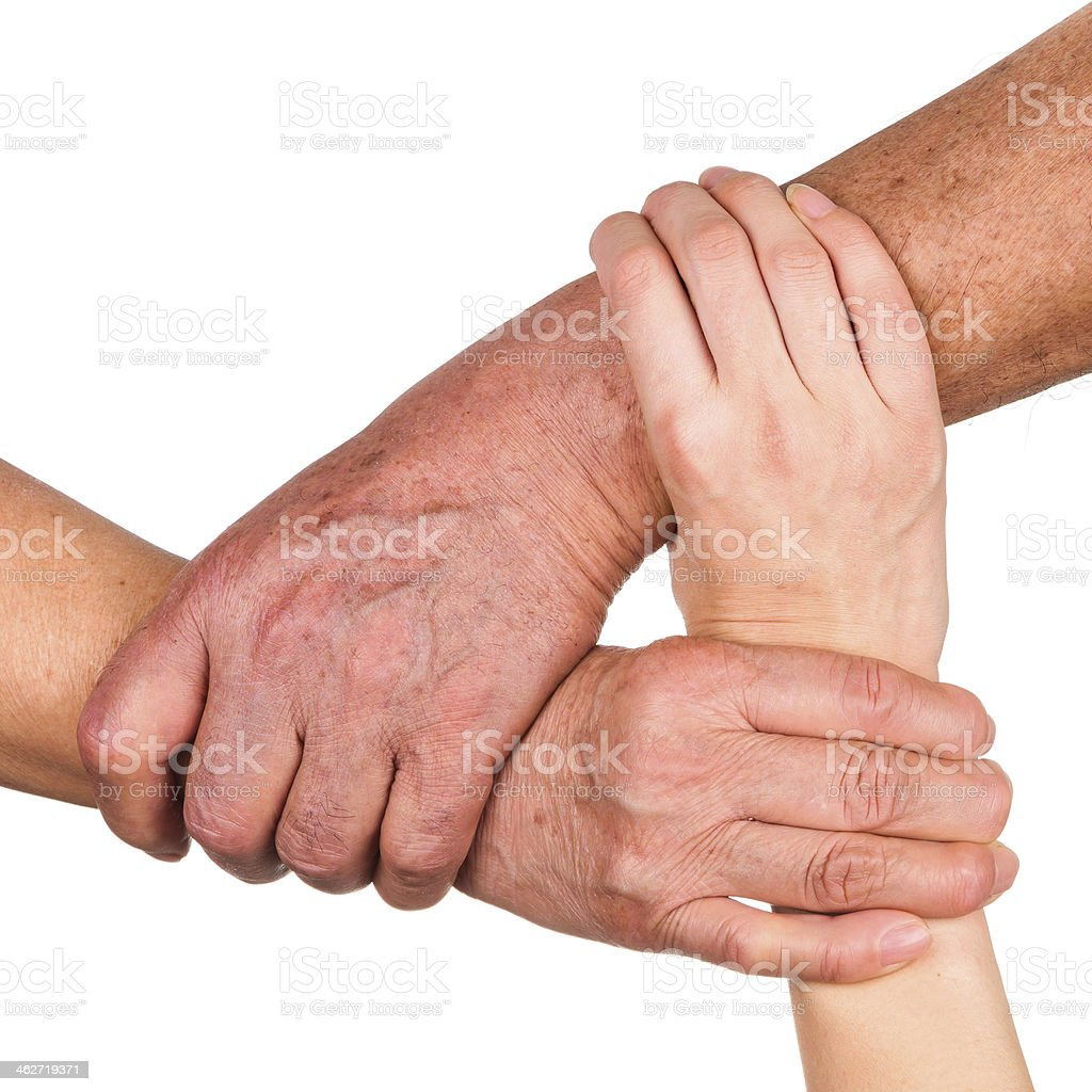 family love:senior parents and daughter hand isolated on white background royalty-free stock photo