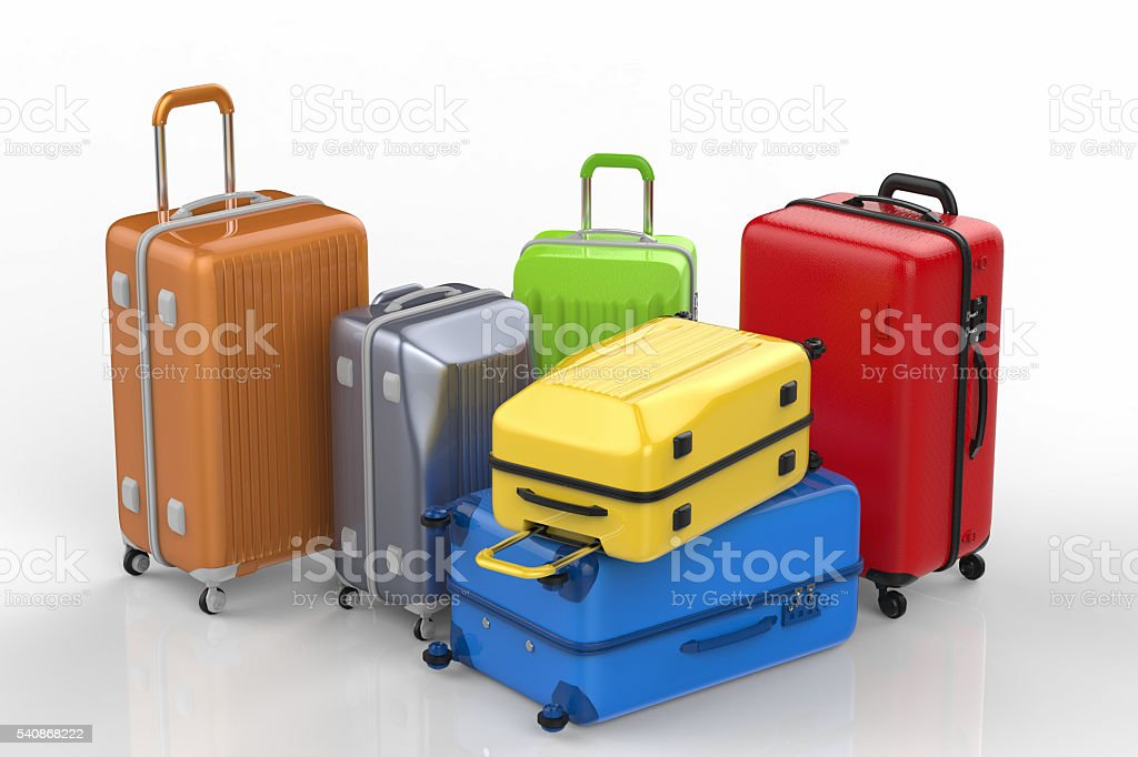family luggages stock photo