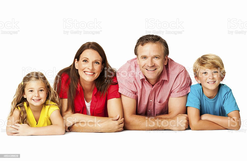 Family Lying Down With Arms Crossed - Isolated royalty-free stock photo