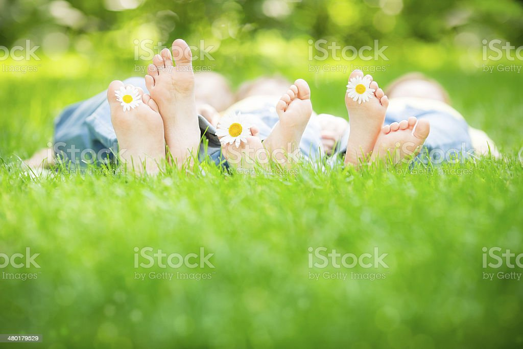 Family lying on grass stock photo