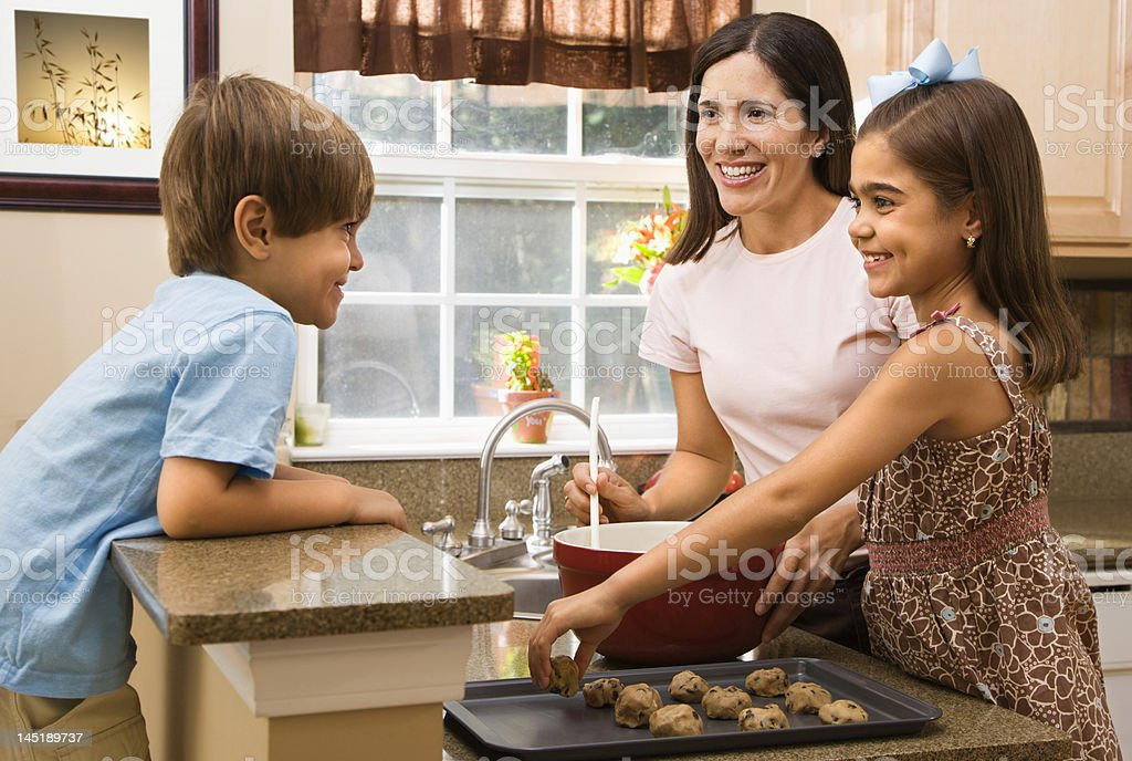 Family making cookies. royalty-free stock photo