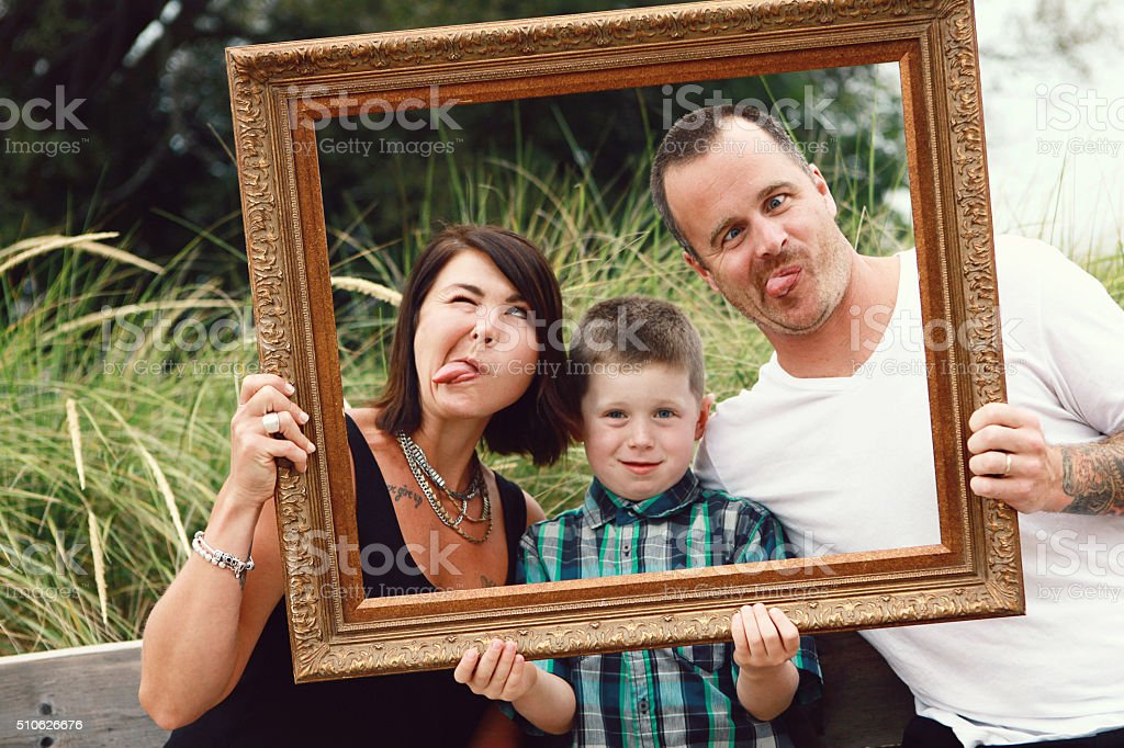 Family Making Funny Faces stock photo