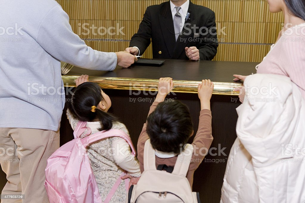 Family making payment stock photo