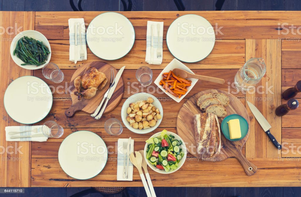 Family meal table with no people. stock photo