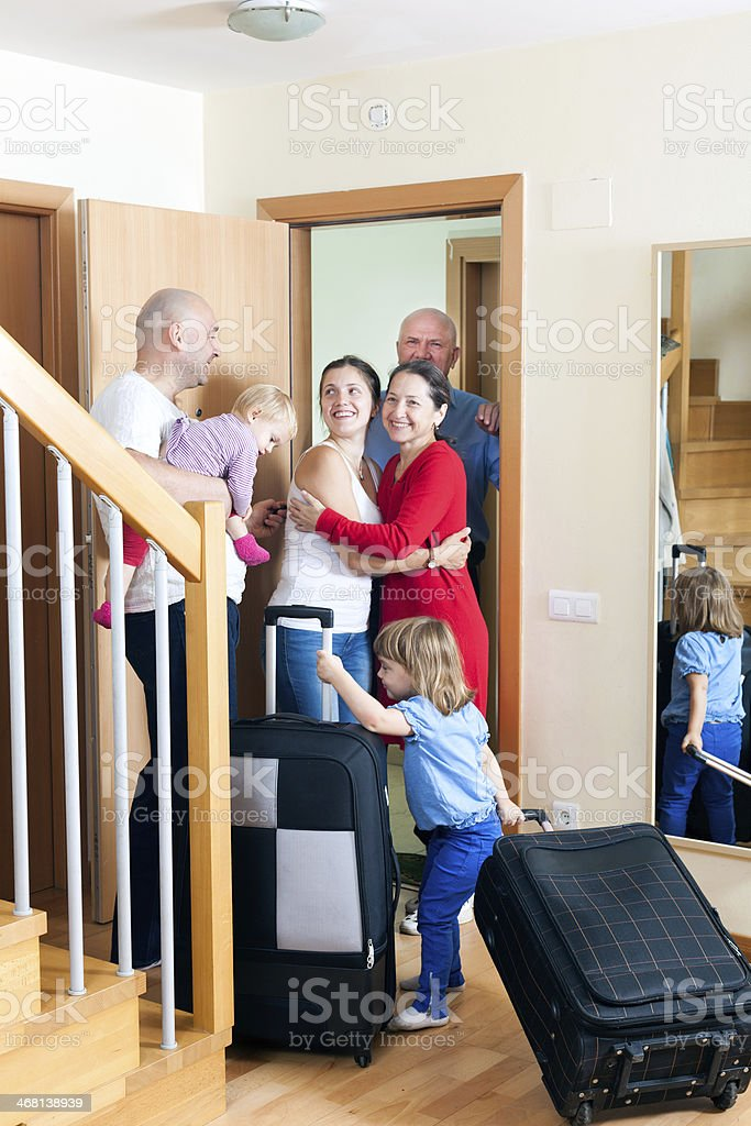Family meeting relatives stock photo