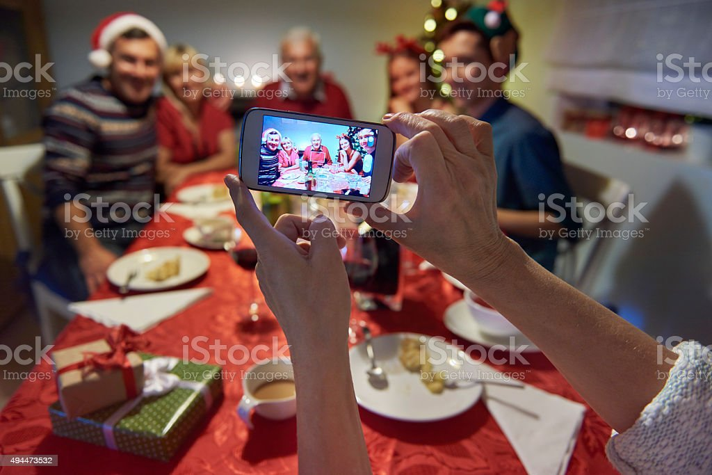 Family memories from christmas eve stock photo