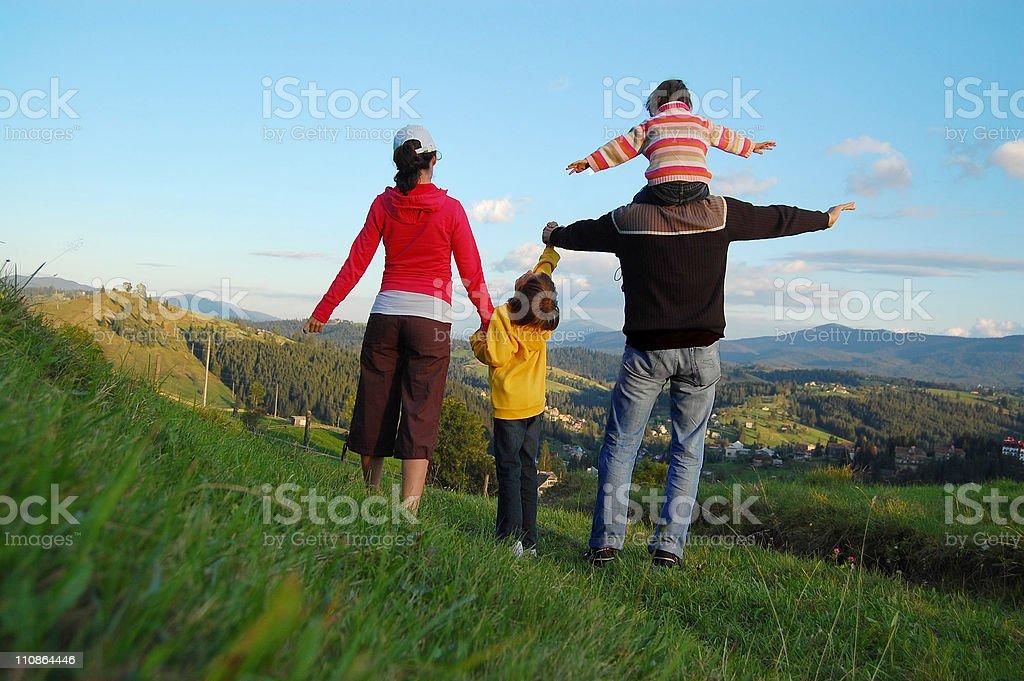 Family mountain vacation stock photo