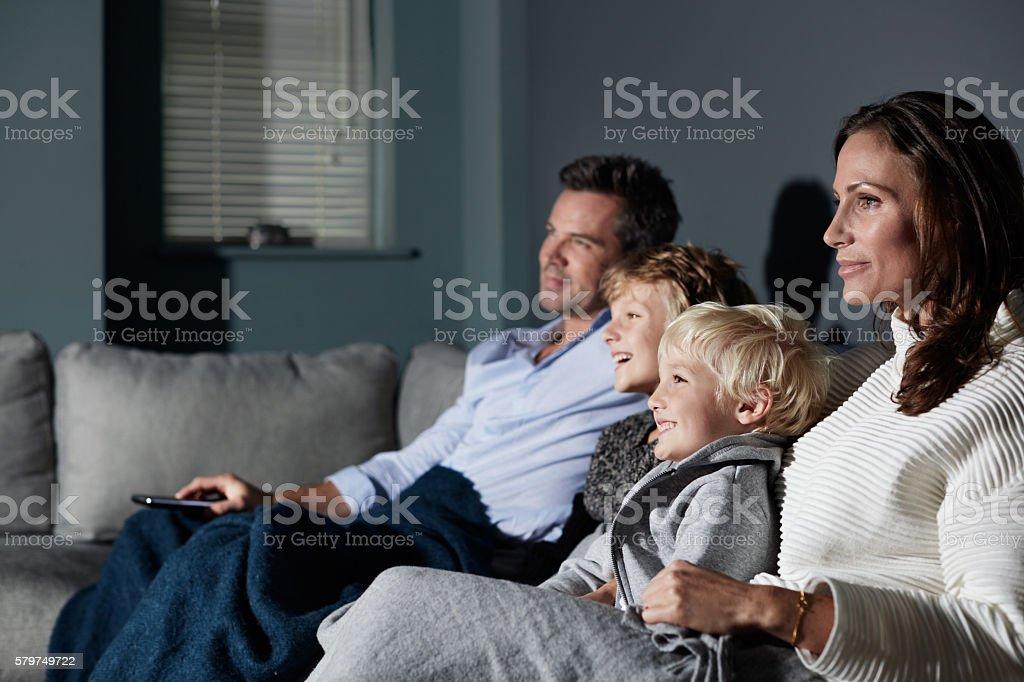 Family movie night stock photo