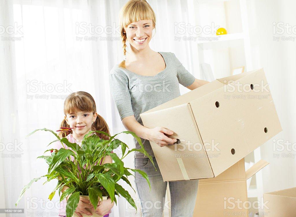 Family Moving House. royalty-free stock photo