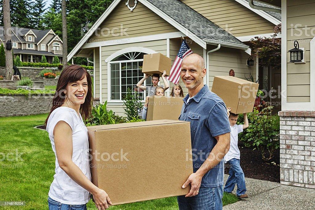 Family Moving House royalty-free stock photo