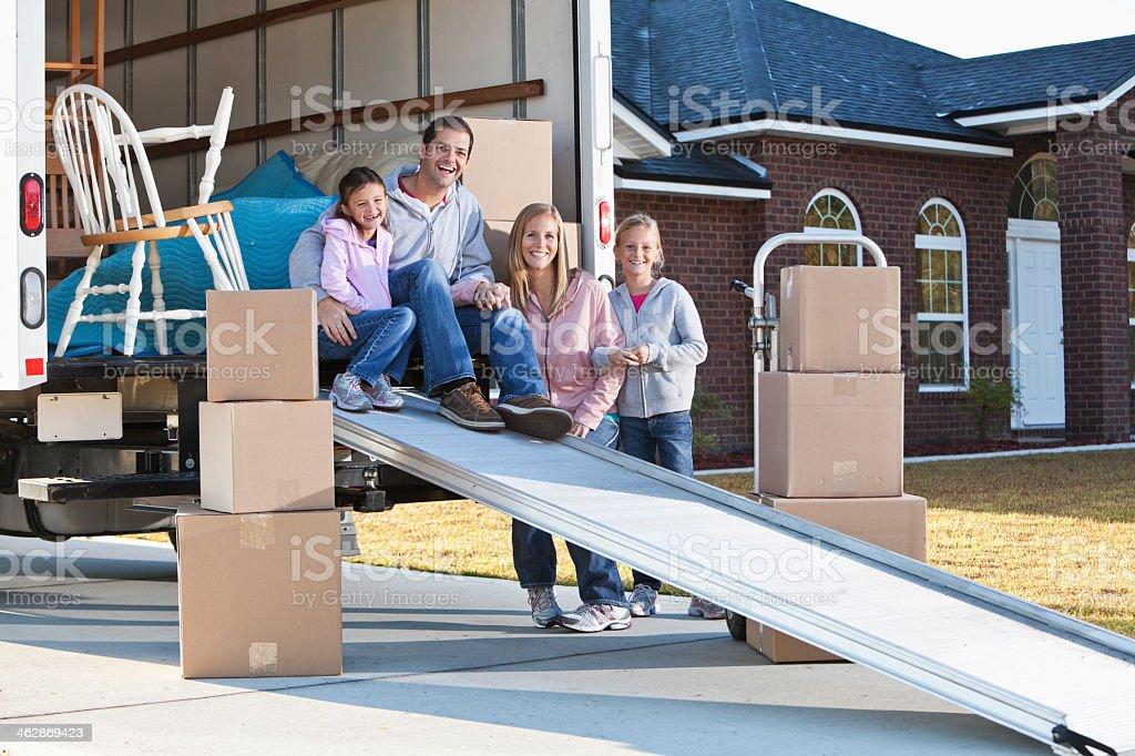 Family moving house stock photo