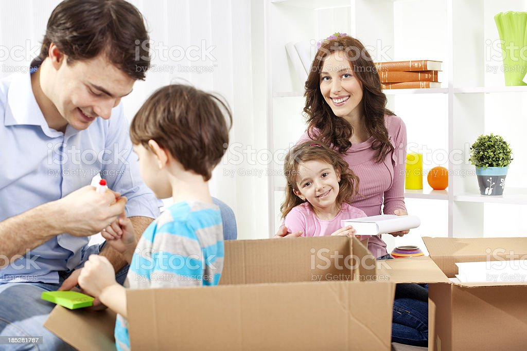 Family Moving Into New House royalty-free stock photo