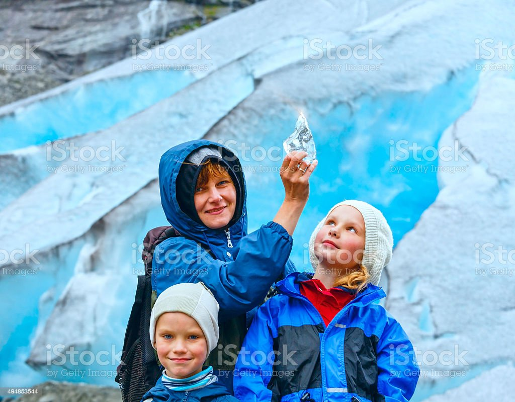Family near Nigardsbreen glacier (Norway) stock photo