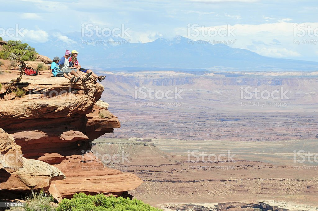 Family Observing view in Canyonlands National Park royalty-free stock photo