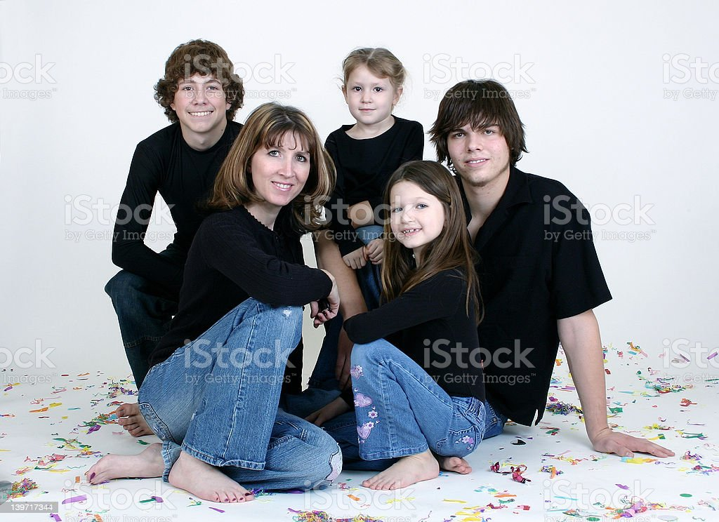 Family of 5 with White Background royalty-free stock photo