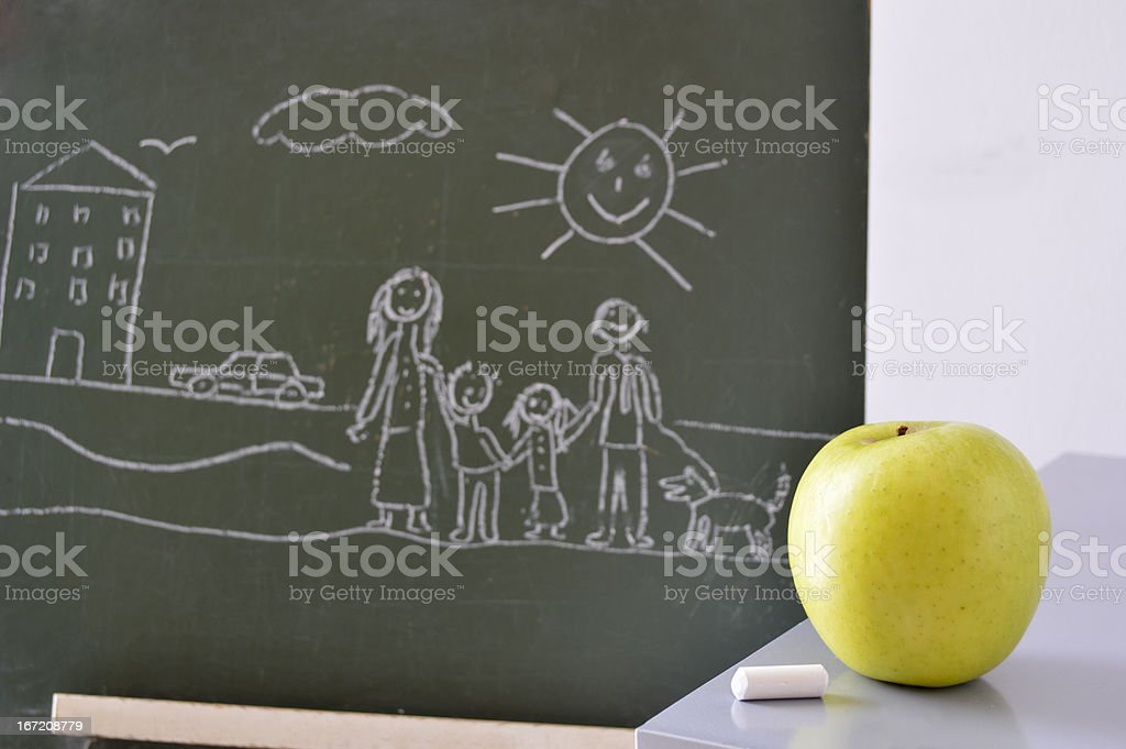 family of a child drawing royalty-free stock photo
