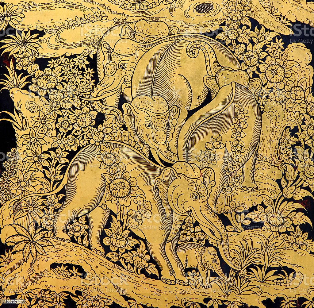 family of elephant in traditional Thai style art royalty-free stock photo