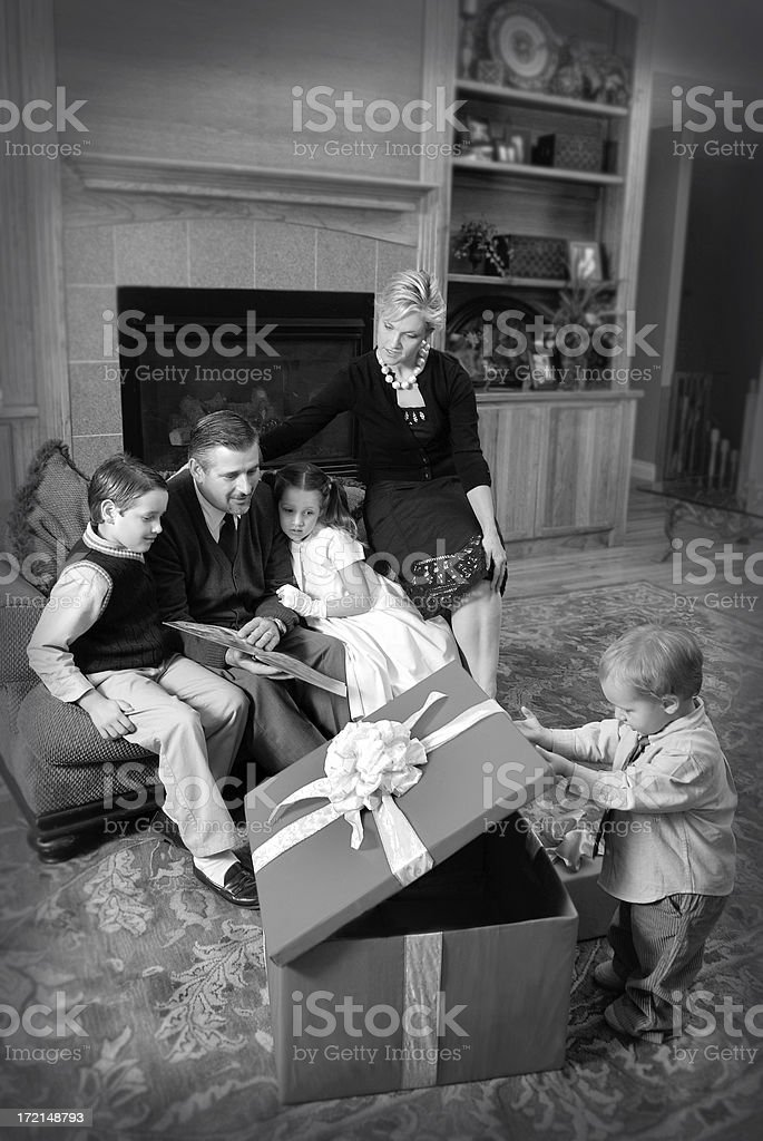 Family of Five Dressed in Retro Clothing During Holiday royalty-free stock photo