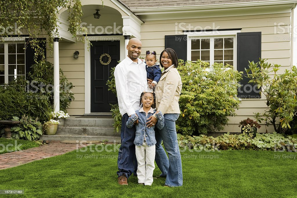 Family of Four at Home stock photo