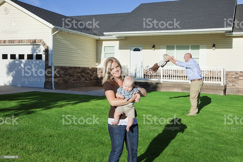 Family of Four at Home royalty-free stock photo