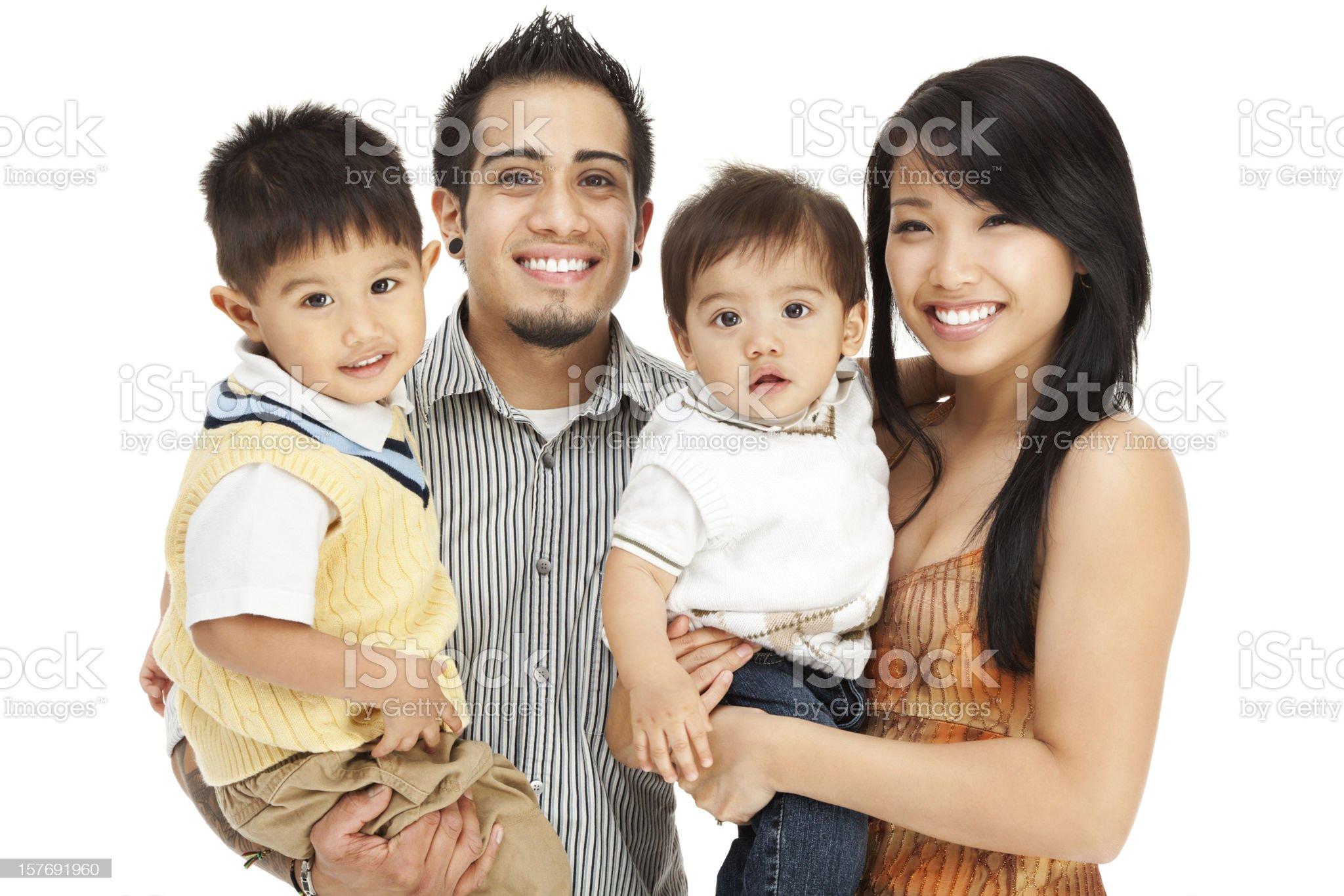 Family of Four on White royalty-free stock photo