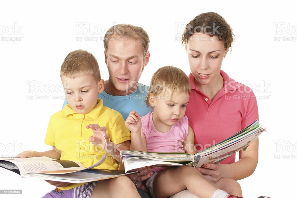 family of four read books royalty-free stock photo