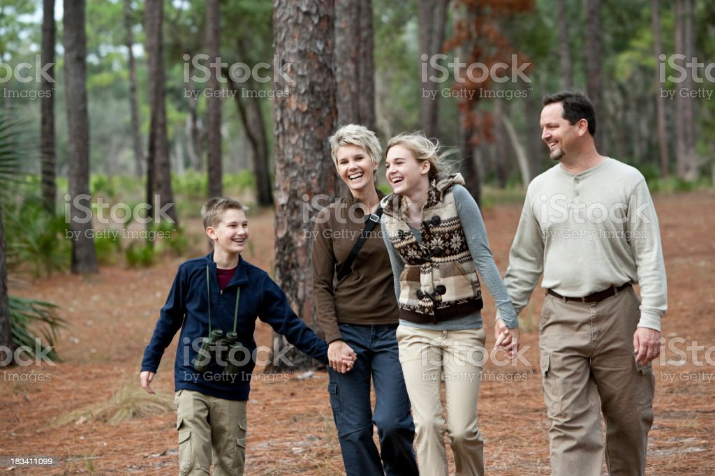 Family of four walking together in park stock photo