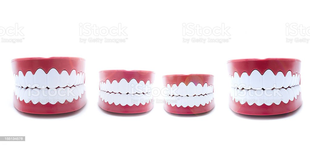 Family of Happy Model Teeth and Gums stock photo