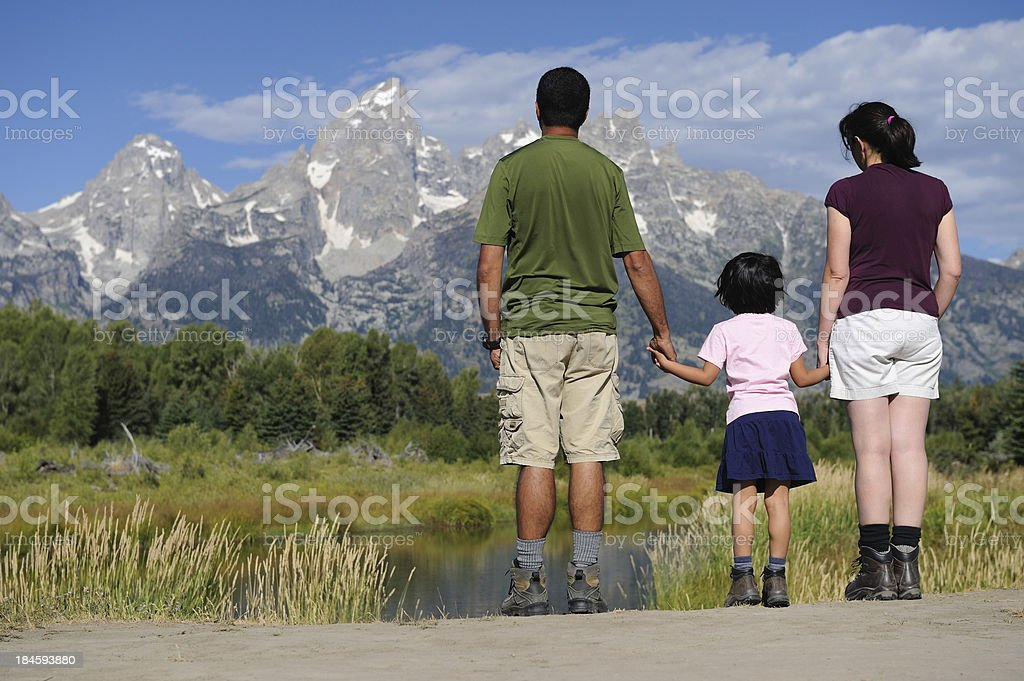 Family of Hikers Enjoying View royalty-free stock photo