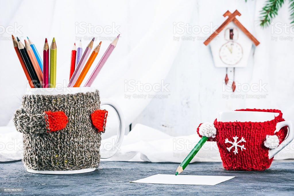 Family of mugs drawing stock photo