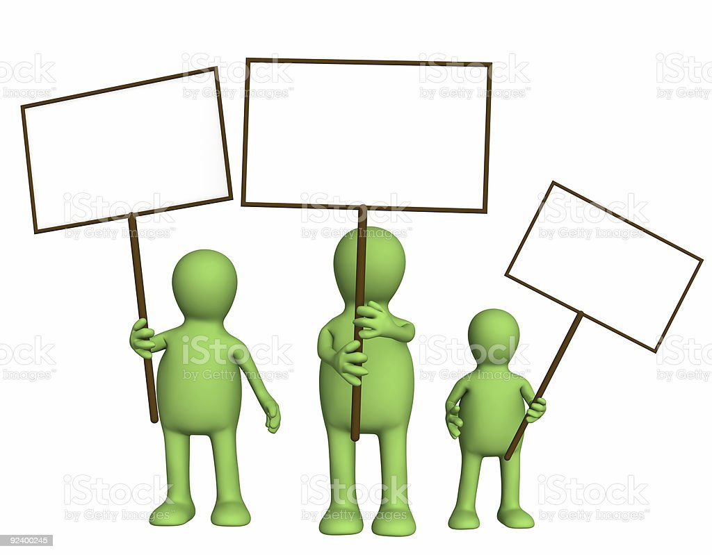 Family of puppets with posters in hands royalty-free stock photo