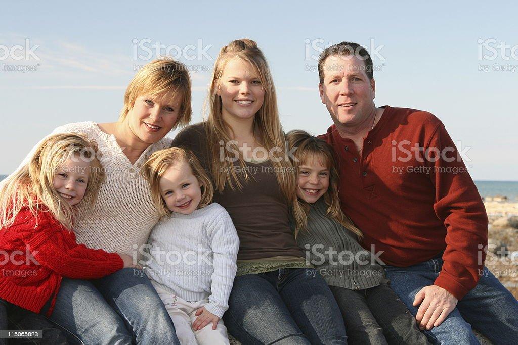 Family of Six royalty-free stock photo