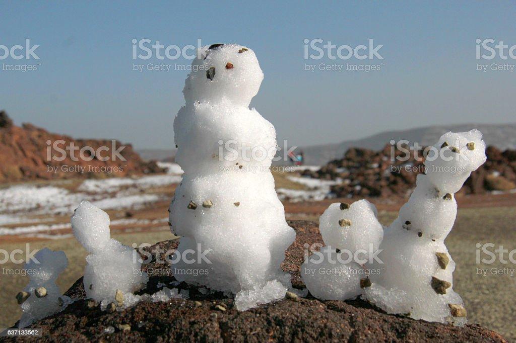 family of snowman stock photo