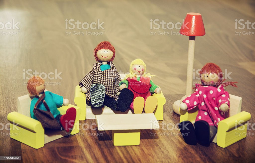 Family of the wooden figures stock photo