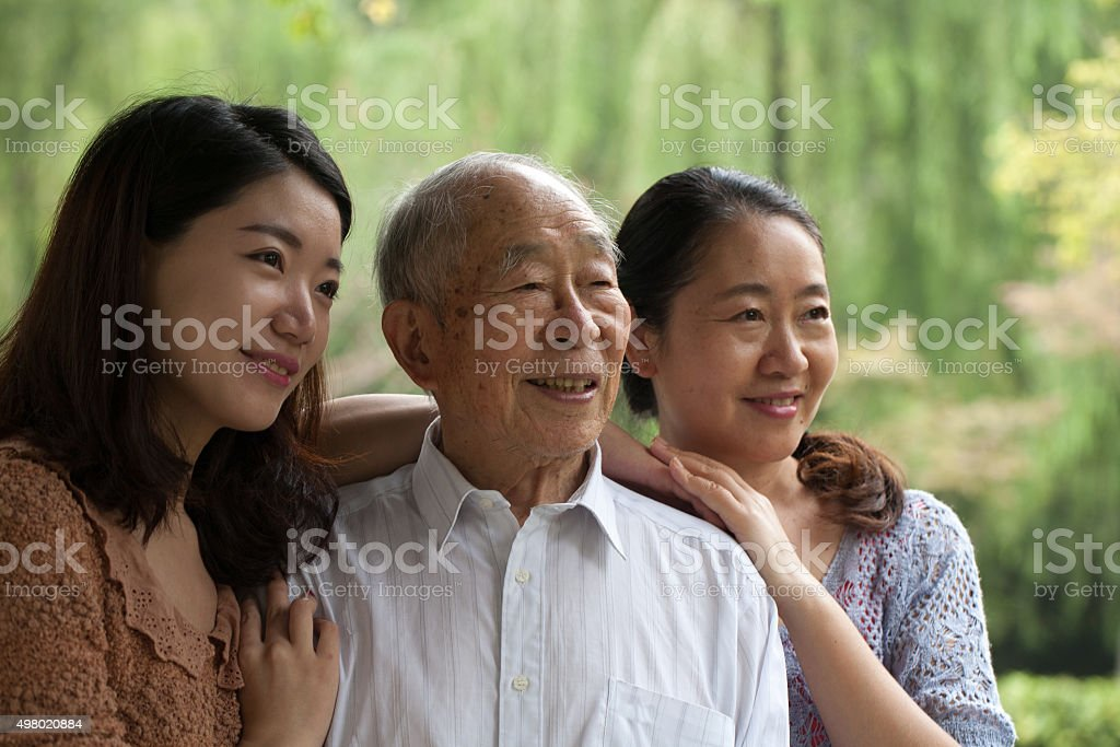 Family of three generations stock photo