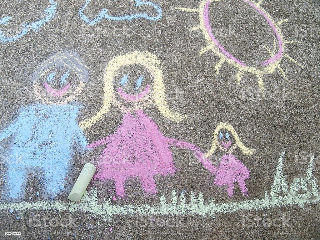 Family of Three in Chalk stock photo