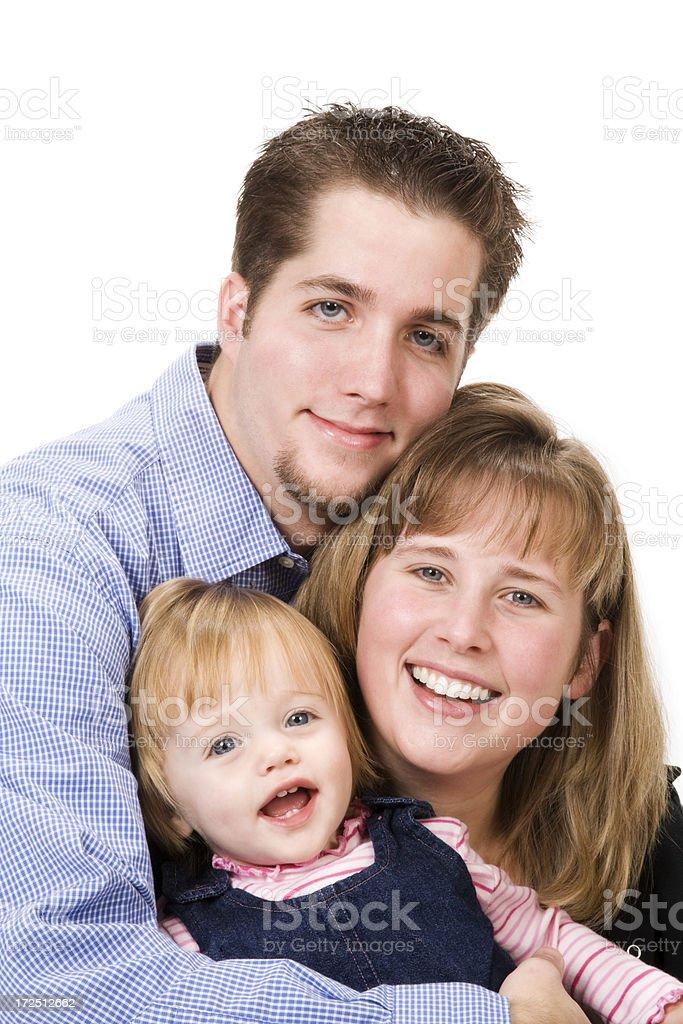 Family of Three on White royalty-free stock photo