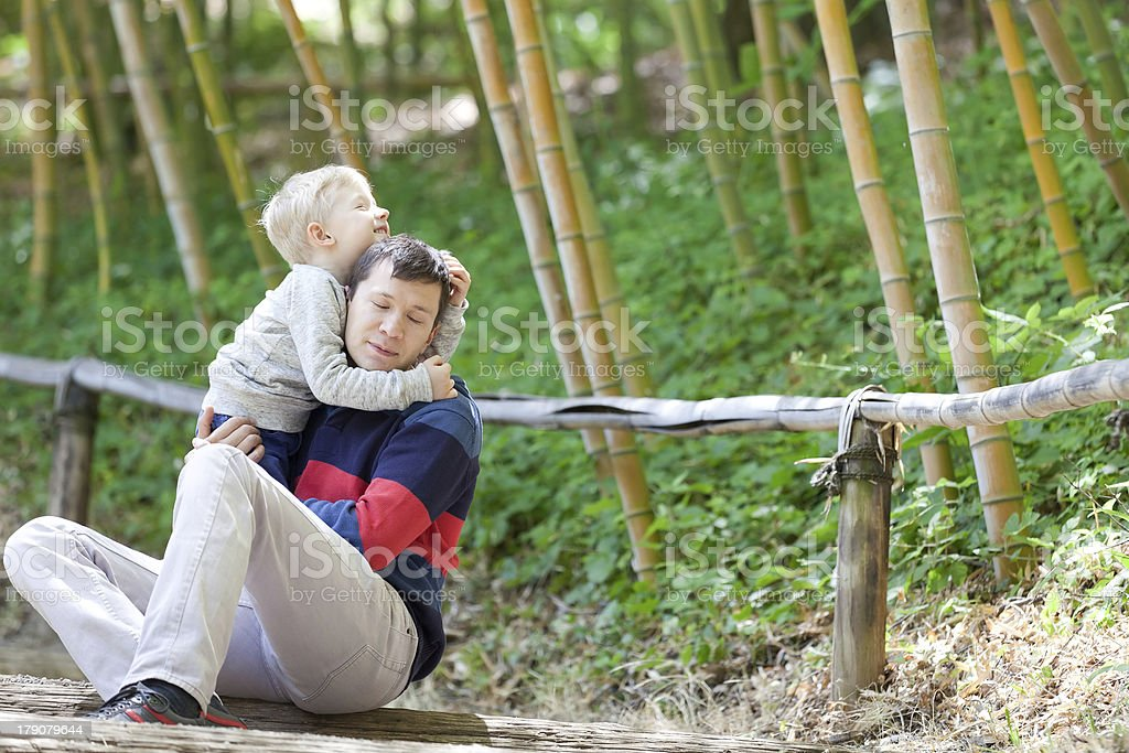 family of two outdoors royalty-free stock photo