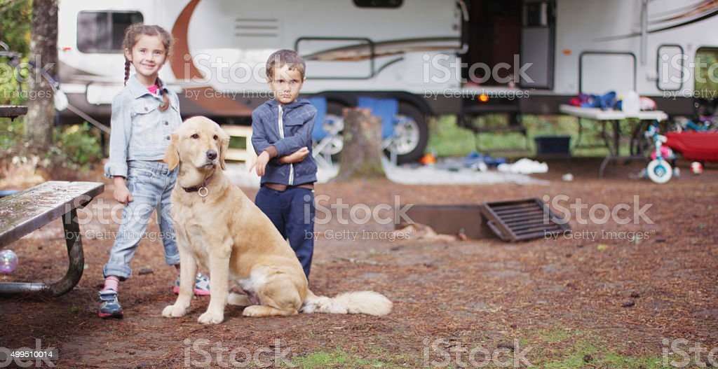 Family on a Camping Trip stock photo